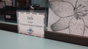 In Lane's memory, students from the Chromebook support class have displayed his name tag prominently in the ITC.
