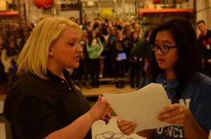 WNDU Reporter Christine Karsten talking with Student Council President Shelly Zang