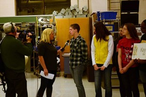 WNDU Reporter Christine Karsten interveiwing our very own students