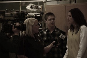WNDU Reporter Christine Karsten interviewing during Schools Rules