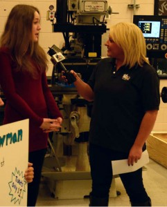 WNDU Reporter Christine Karsten interviewing Paige Dooley on live TV
