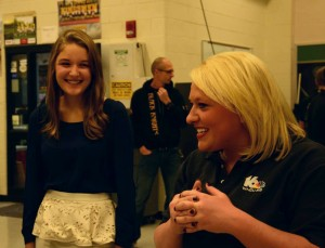 WNDU Reporter Christine Karsten talking with robotics member Julie Stevenson before they go live again
