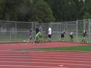 Track campers do drills