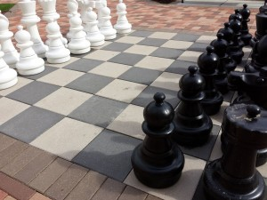 Chess pieces preparing for battle