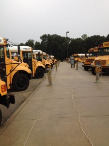 Buses lined up at PHM transportation