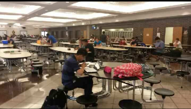 Students have a study hall every other day in the Penn cafeteria.