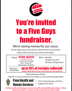 The poster for The Hunger Drive  taking place at Five Guys.