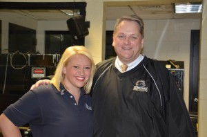 WNDU Reporter Christine Karsten posing with our Principal Mr. Hope