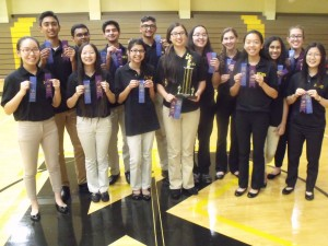 Penn High School's Spell Bowl team members proudly display their first place and perfect speller ribbons won at the Kouts Invitational on Monday, Oct. 3.
